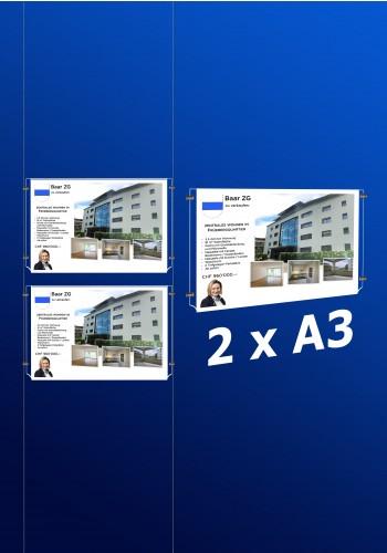 raampresentatie - raamdisplay 2 x a3 (A3 papier)