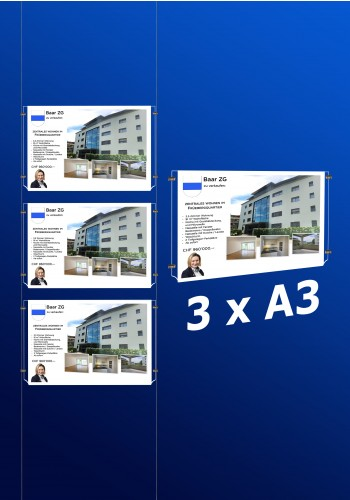 raampresentatie - raamdisplay 3 x a3 (A3 papier)