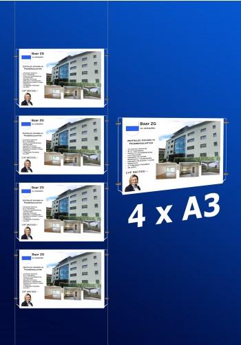 raampresentatie - raamdisplay 4 x a3 (A3 papier)