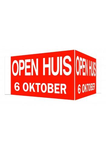 Open Huis V-bord met datum (rood)