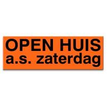 Sticker ultra removable OPEN HUIS zaterdag a.s. (oranje)