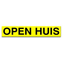 Sticker ultra removable OPEN HUIS (geel)