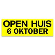 Sticker ultra removable OPEN HUIS met datum (geel)