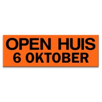 Sticker ultra removable OPEN HUIS 6 OKTOBER (oranje)