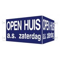 Open Huis V-bord a.s. zaterdag met zuignappen (blauw)