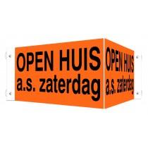 Open Huis V-bord a.s. zaterdag met zuignappen (geel)