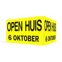 Open Huis V-bord met datum (geel)